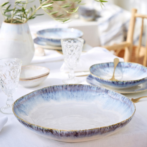 Brisa Ria Blue Pasta Serving Bowl on dining table