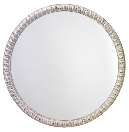 Audrey Beaded Mirror in White Wood main image