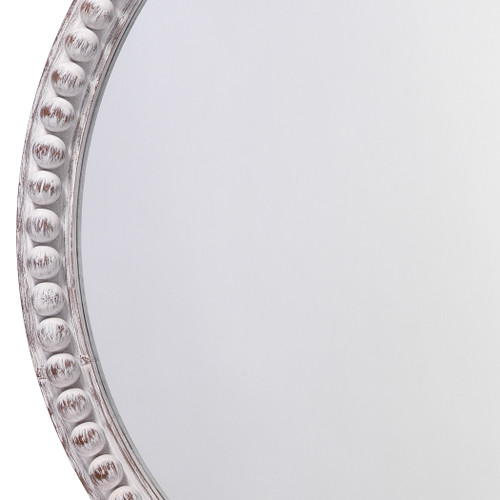 Audrey Beaded Mirror in White Wood close up