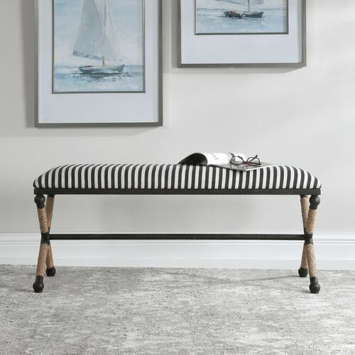 Nautical Braddock Striped Bench room view with sailing art