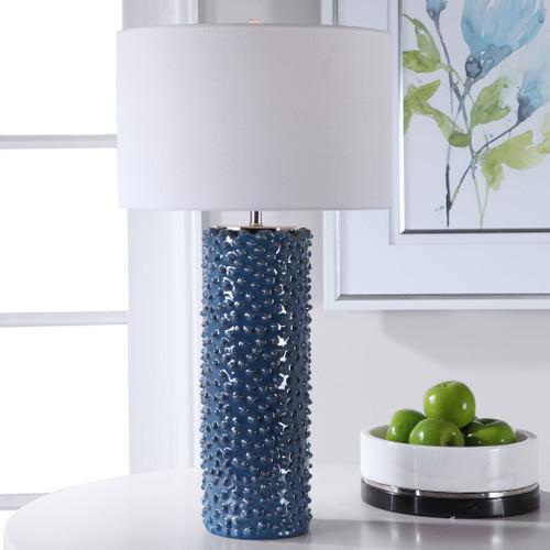 Fiji Blue Table Lamp light on room view
