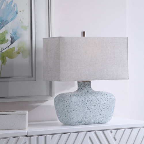 Ocean Textured Glass Table Lamp room view