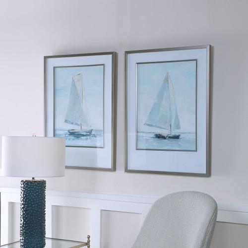Seafarer Sailing Framed Prints - Set of 2 room angle view