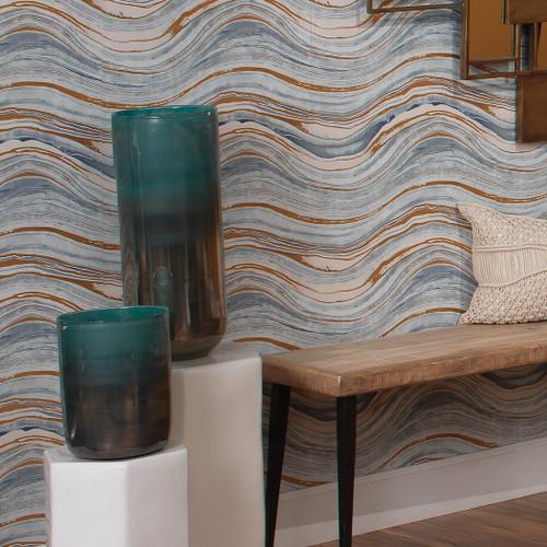 Large Vapor Vase in Metallic Aqua beauty 1