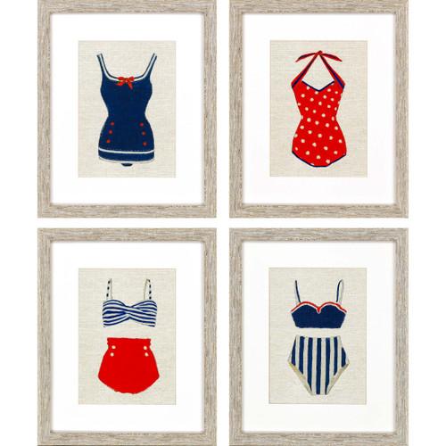 Vintage Framed Swimsuits Set of Four