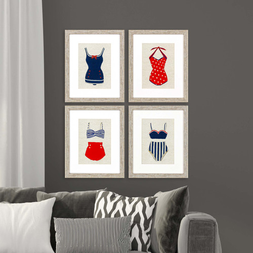 Vintage Framed Swimsuits Set of Four room view