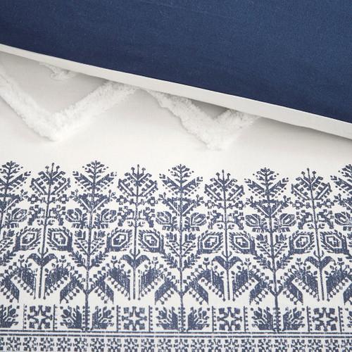 Malibu Boho Navy and White Printed Duvet Set - Queen close up duvet