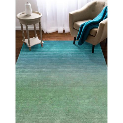 Arca Aqua Plush Wool Rug room view 1