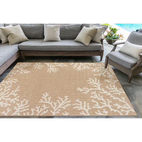 Coral Border Sand and Ivory Indoor-Outdoor Rug patio view