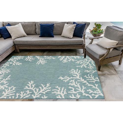 Coral Border Aqua Blue Indoor-Outdoor Rug patio view