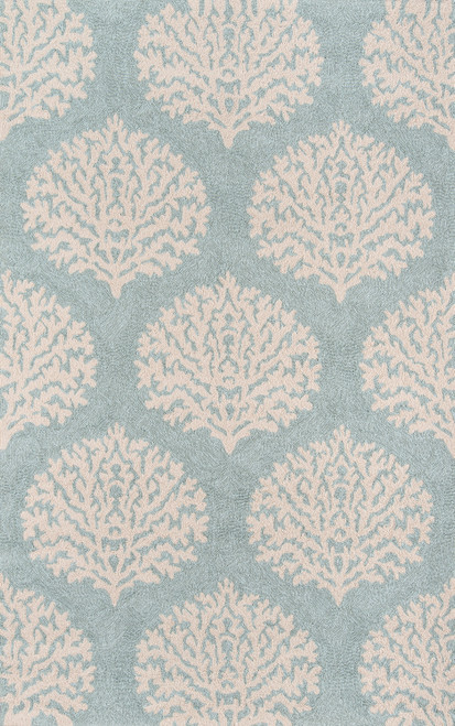 Blue and Ivory Coral Garden Area Rug