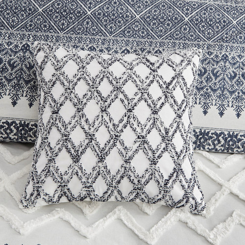 Malibu Navy and White Diamond Tufted Pillow with bedding
