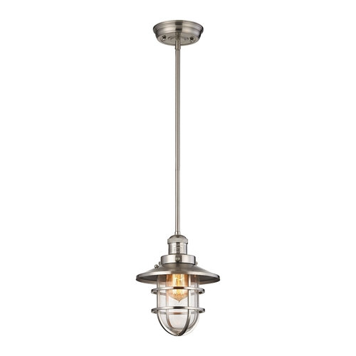Seaport 1-Light Mini Pendant in Satin Nickel with Clear Glass