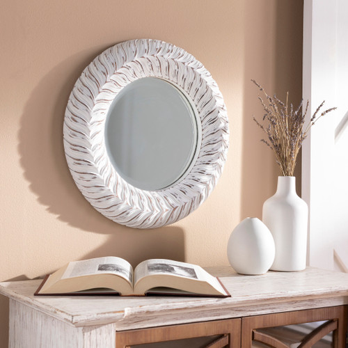 White-Washed Tanu Round Mirror room view