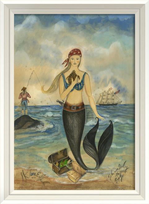 Pirate and Treasure Mermaid Wall Art - White Frame
