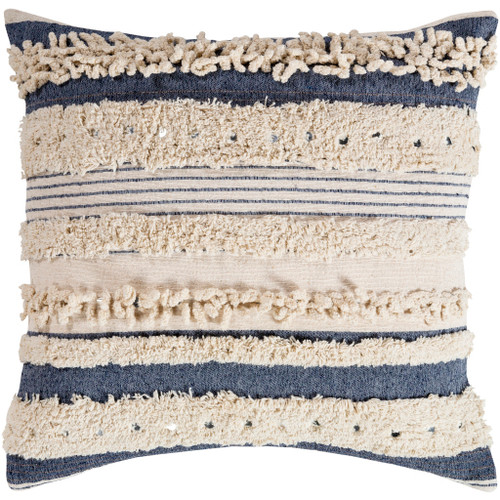 Longboat Key Navy Blue Tufted Striped Pillow