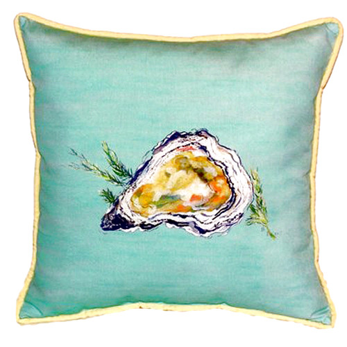 Teal Oyster Shell Indoor-Outdoor Pillow