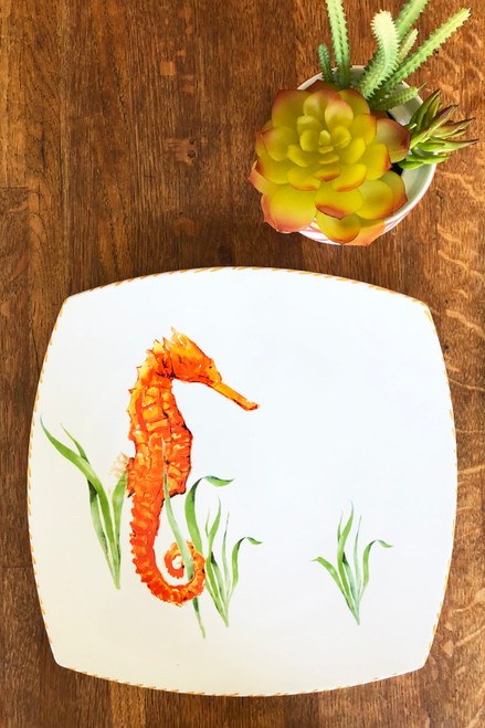 Seahorse Large Square Plates - Set of Two table view