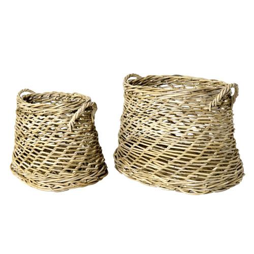 Coronado Rustique Rattan Oval Baskets - Set of Two