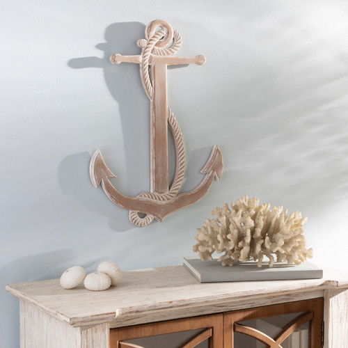 Point Loma Distressed White Anchor Wall Decor room view