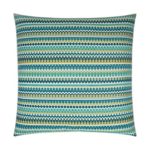 Bright Peacock Stripes Luxury Coastal Pillow