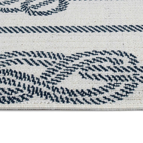 Ivory and Navy Blue Tied Up in Knots Rug edge