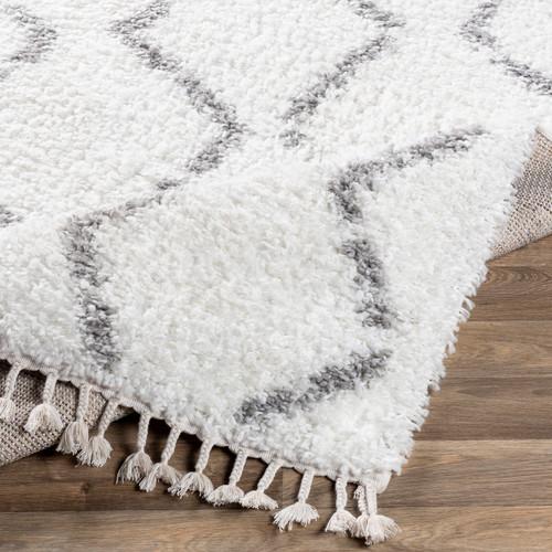 Monterey Sands Plush White Shag Rug fold