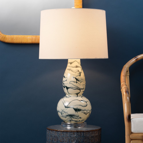 Eloyse Indigo Swirl Table Lamp room example with light on
