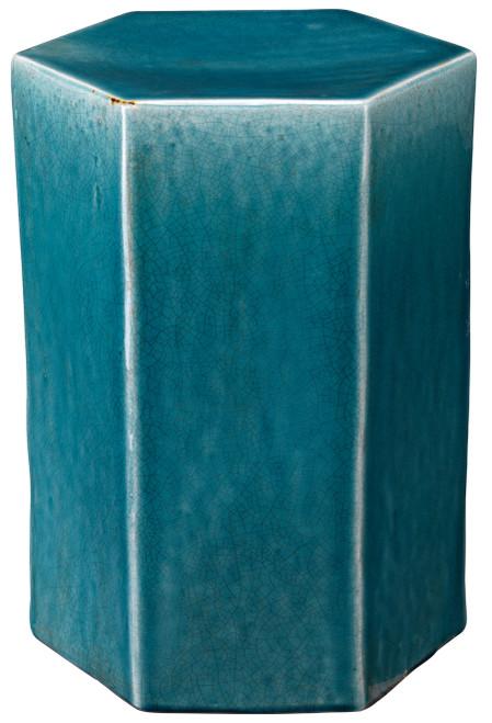 Large Porto Side Table in Azure Ceramic