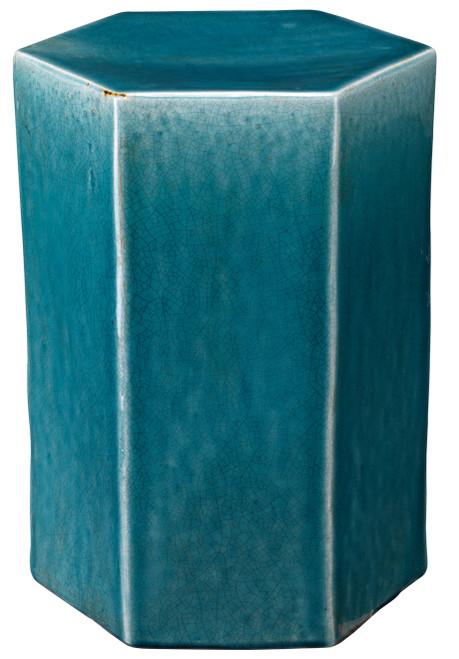 Small Porto Side Table in Azure Ceramic
