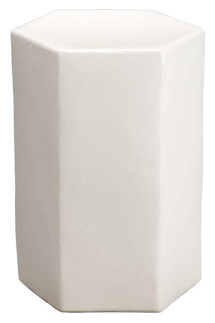 Small Porto Side Table in White Ceramic