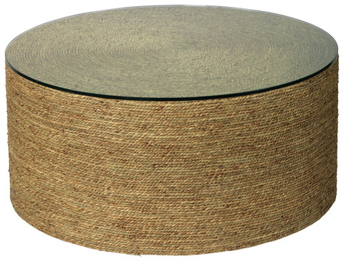 Harbor Glass Topped Coffee Table in Natural Seagrass
