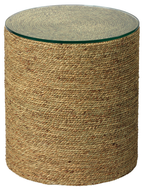 Harbor Glass Topped Side Table in Natural Seagrass