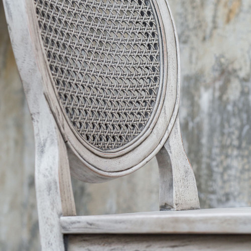 Clarion Aged White Counter Stool close up back