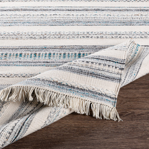 Azores Sea Striped Woven Rug fold and details