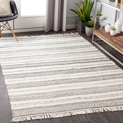 Azores Charcoal and Cream Striped Woven Rug room image