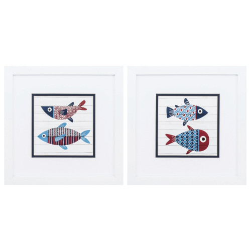 Red and Blue Fish Whimsy Art