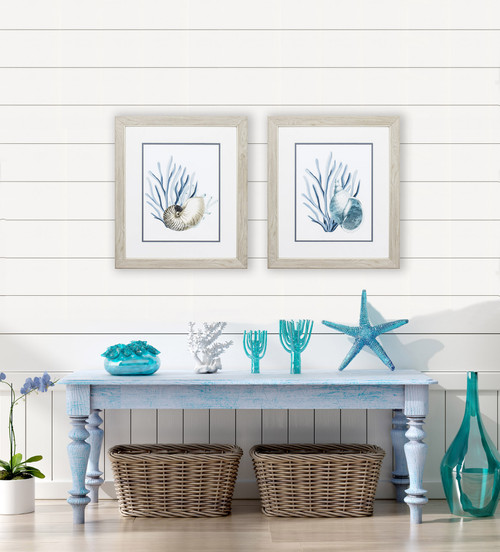 Blue Sea Shells and Seaweed Art room view
