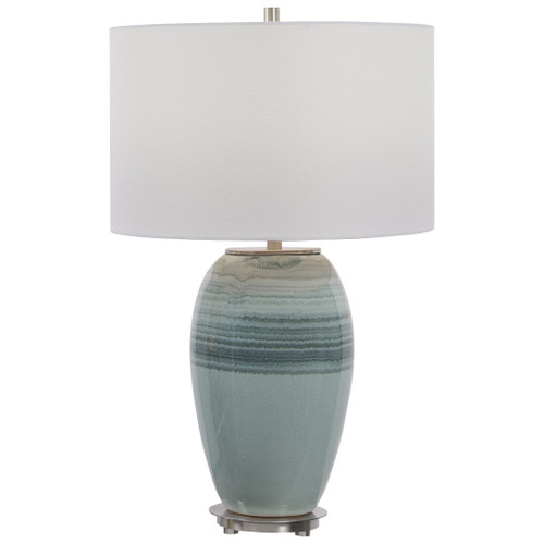 Caicos Teal Table Lamp close up view