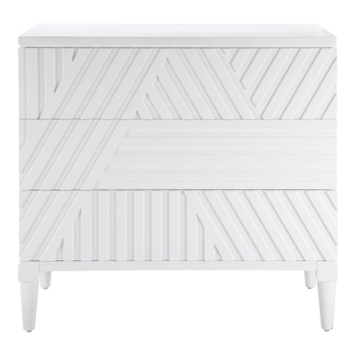 Colby White 3-Drawer Chest front view
