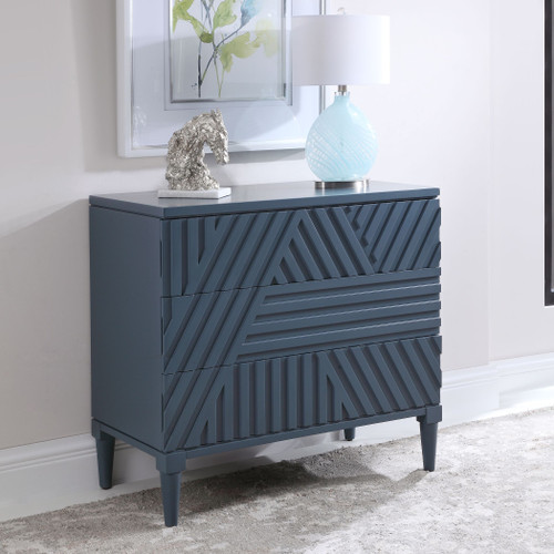 Colby Navy Blue 3-Drawer Chest room view