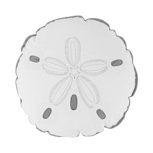 Grey and White Sand Dollar Shaped Pillow