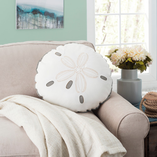 Grey and White Sand Dollar Shaped Pillow room view