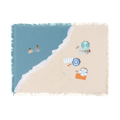 Beach Scene Embroidered Placemats - Set of Four
