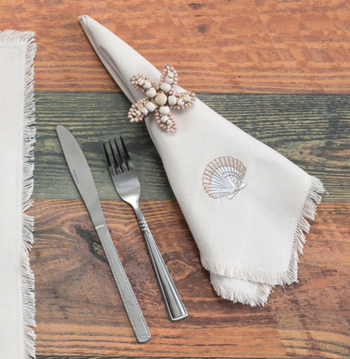 Sea Shell Embroidered Cotton Napkins - Set of Four table view