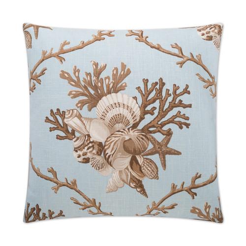 Shelldon 24 x 24 Linen Pillow - Blue Surf