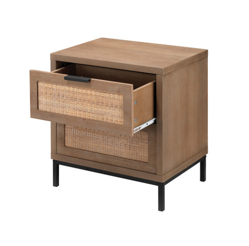 Rincon 2-Drawer Side Table drawer pulled out