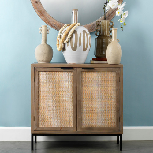 Rincon 2-Door Accent Cabinet room view with seagrass mirror