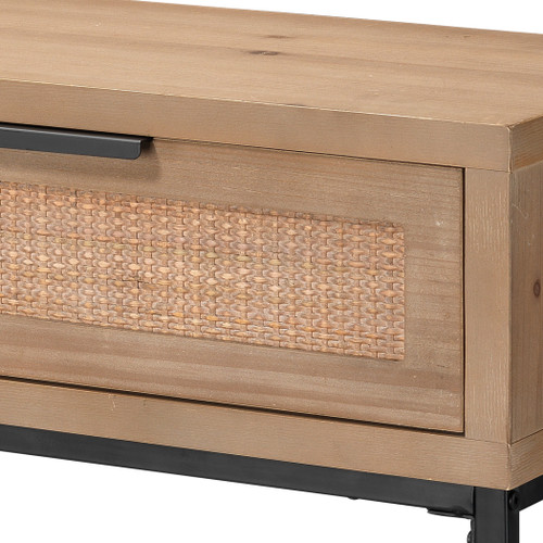 Rincon Console Table in Washed Wood close up drawers