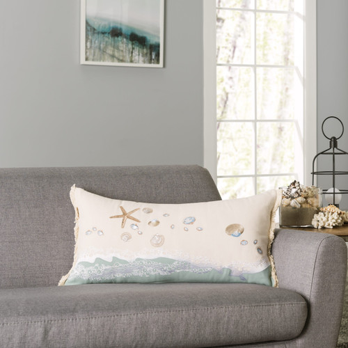 Beach Combers Shell Embroidered Rectangle Pillow room view